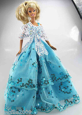 New Handmade Light Blue Wedding Clothes Outfits For Barbie Doll d867