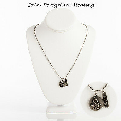 "Saint  Peregrine ""Healing "" Necklace on 24"" Bead Ball Chain (Silver Tone)"