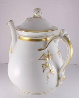 Antique Tea Pot Coffee Porcelain Limoges Foliate Impressed H&C Mark Gilt