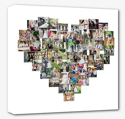 Heart collage canvas print - personalised -  Framed ready to hang. white border