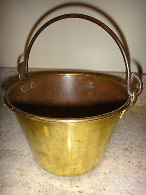 Antique H W Hayden Brass on Copper Kettle Rare Small 7 1/2 Pot Wrought Iron 1866