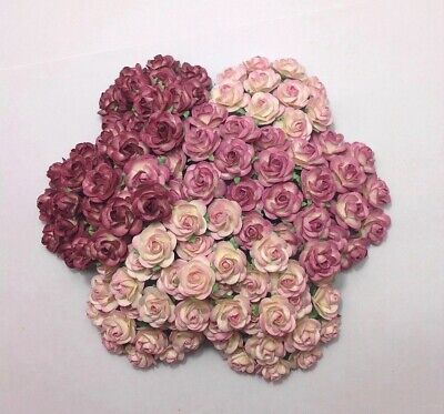 100 Pcs Mixed Colors D8A Mulberry Paper 22 mm Roses Wedding Flowers Decorations