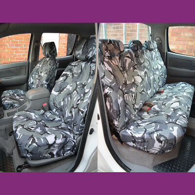 Grey Camo Tailored Front Rear Seat Covers for Toyota Hilux Double Cab 2005-2016