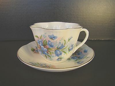 Crown Staffordshire Blue Floral Tea Cup & Saucer Flowers Gold Gilt Scalloped