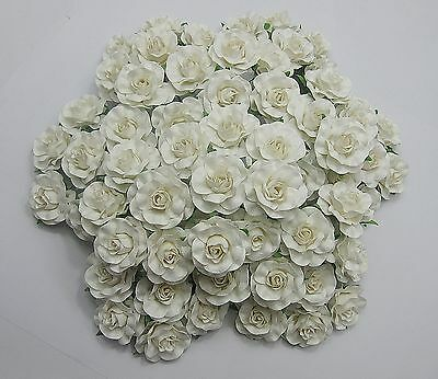 50 Pcs White Roses Mulberry Paper 35mm Beautiful Wedding Flowers Decorations DIY