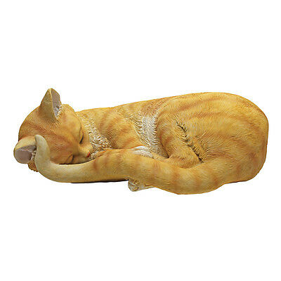 Yellow Cat Sleeping Statue, Tabby, Cat Napping Kitten Figurine, Realistic, NEW