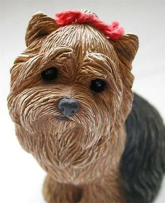 Sweet Faced Yorkshire Terrier Dog Figurine by Sandicast! Handpainted, 4""