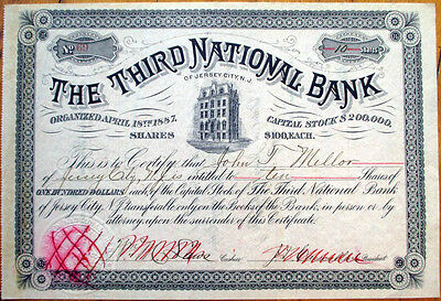 1880 Stock Certificate: 'The Third National Bank' - Jersey City, New Jersey NJ