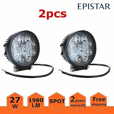 2PCS 27W Round 4inch LED Work Light SPOT Lamp Truck SUV UTV ATV Offroad For Jeep