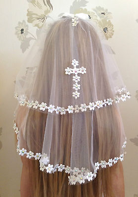 Girls White Communion Veil   First Holy Communion Confirmation Diamantes