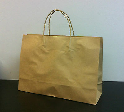 50pcs MEDIUM BOUTIQUE KRAFT Brown Paper Gift Carry Bags with handles 250x350x110