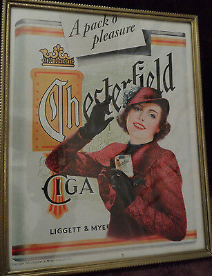 PRETTY YOUNG WOMAN ADVERTISING CHESTERFIELD CIGARETTES- AD DATED 1937, FRAMED