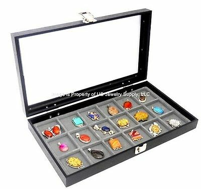 1 Glass Top Lid Grey 18 Space Storage Display Box Case Jewelry Pocket Watch Coin