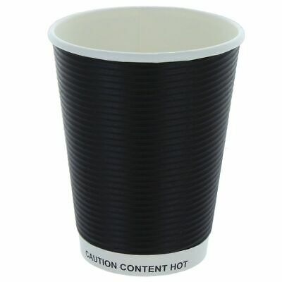 100 X Ripple Black 16oz Kraft Cup & Black Lids Insulated Tea Coffee Disposable