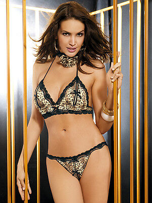 Obsessive Savage Bra Set Sexy Lingerie Ladies Underwear Open Thong Cheetah New
