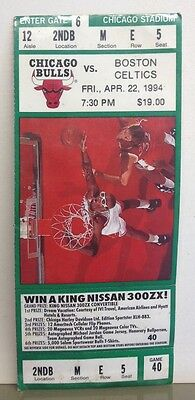 Chicago Bulls v Boston Celtics 1994 Home ticket unused Scottie Pippen Grant