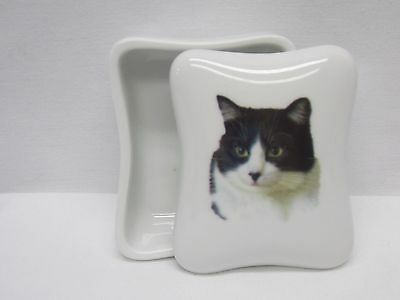 Black&White Cat Dresser or Trinket Box Porcelain Fired Head Decal Nice Gift