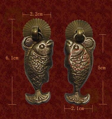 Vintage FISH Drawer Pull Knob Cabinet Dresser Brass Fishes Handle PC003
