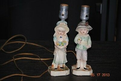 Vintage Chalkware Lamps - French Country Couple