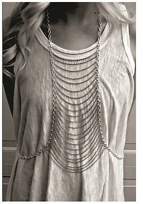 Fashion Punk Necklace Link Waist Multilayer Tassels Body Silver Chain Harness