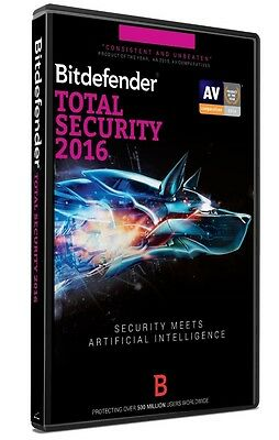 Bitdefender TOTAL SECURITY 2016, 3 PCs, 1 Year Protection (RETAIL DVD VERSION)