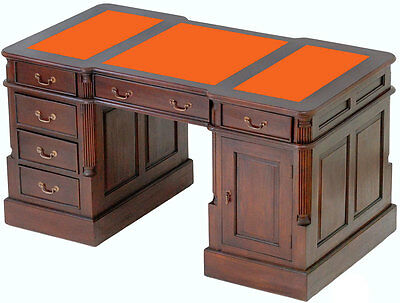 MAHOGANY LAWYER PARTNERS DESK 140cm OFFICE WRITING TABLE VICTORIAN STYLE