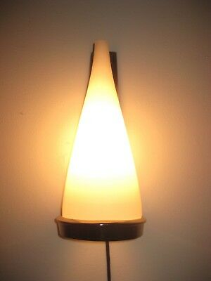Vintage Gilbert Mid Century Modern Atomic Age Brass Sconce Lamp Glass Shade