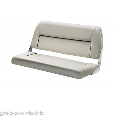 Boat Seat Bench Seat Deluxe Folding Seat 2 Person Marine White Blue trim New