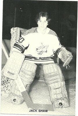 """4.25""""X6.5"""" Sudbury Wolves Team Issued Card from the late 1970's Jack Shaw"""