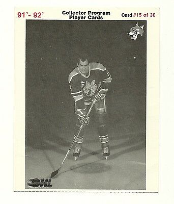"""5""""X6"""" Sudbury Wolves Team Issued Player Card Jamie Mathews from 1991-92"""