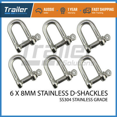 X6 D Shackle Stainless Ss304 8Mm Fits Arb,tjm Winch Snatch Trailer Boat Marine