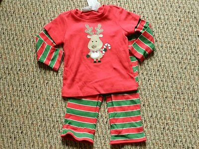 NWT First Impressions Red Reindeer Top~Red/Green Striped Bottoms 6-9 months