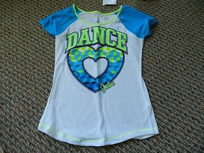 NWT Justice Green/Blue/White DANCE Heart Top Size 8
