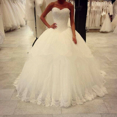 White/Ivory Lace Sweetheart Tulle Ball Gown Wedding Dresses Bridal Gowns Custom
