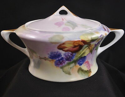Hutschenreuther Covered Bowl/Cracker Jar HAND PAINTED Blackberries CACILIE GOLD
