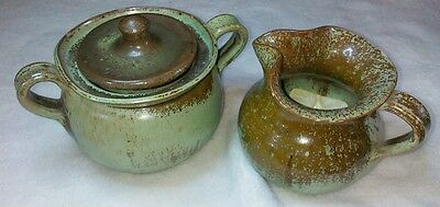 NORTH STATE POTTERY CREAMER AND SUGAR SET GREEN AND BROWN SPLATTER  GLAZE