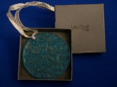 Lalique Crystal Turquoise Holly Ornament Noel 1989 Signed Box RARE