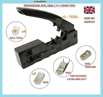 Rj45 Rj11 Crimping Tool + 8 Connector Plugs Cable Wire Idc Network Adsl Cat5 6