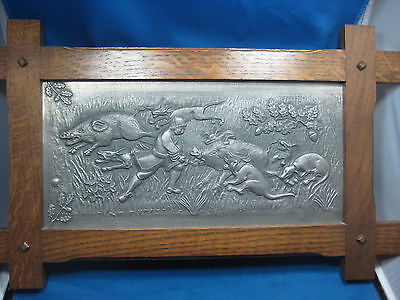 "Antique German 18"" x 11"" Embossed & Engraved Pewter Picture w/Oak Frame Animals"