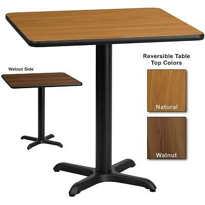 """30""""x30"""" Square Restaurant Table with Natural or Walnut Laminate Top"""