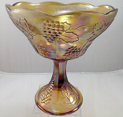 Carnival or Irridescent Amber Glass Tall Compote