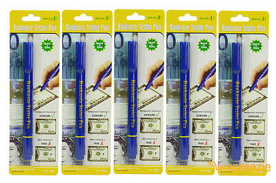 (5 Pack) Counterfeit Pen Money Detector Marker Fake Dollar Bill Currency Checker