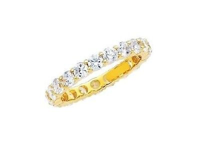 14K Solid Yellow Gold Round Simulated Diamond Promise Eternity Band Ring