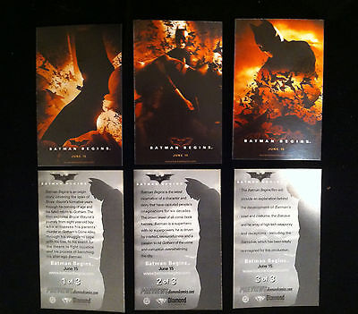 BATMAN BEGINS (2005) Set of 3 MINT Diamond Preview PROMO Trading Cards