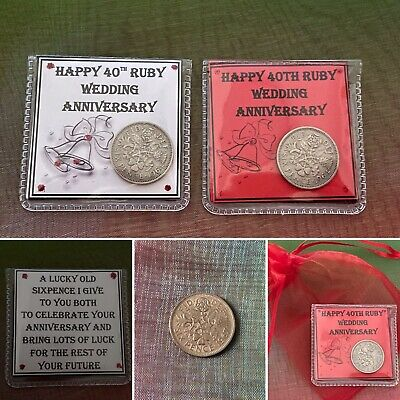 Lucky Sixpence Coin 40TH Ruby Red Wedding Anniversary Keepsake Pouch Gift