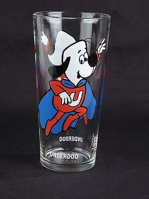 Vintage Pepsi Collector Series glass Underdog flying white letters cartoons kids