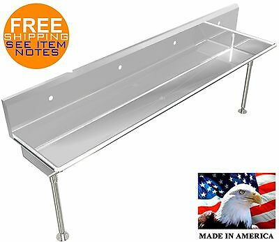 "Industrial 4 Station, Multiuser Wash Up Hand Sink 80"" With Legs And Holes Only"