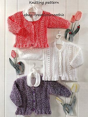 (327) Baby Knitting Pattern Girls Cardigans with lace & frills - in large print