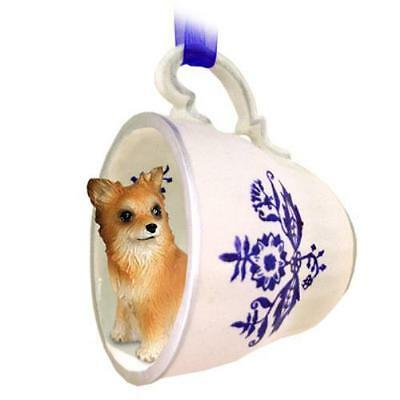 BTCD123 CON Chihuahua Longhaired Tea Cup Blue Ornament