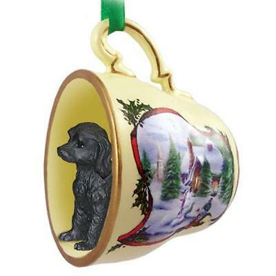 Labradoodle Black Tea Cup Snowman Holiday Ornament